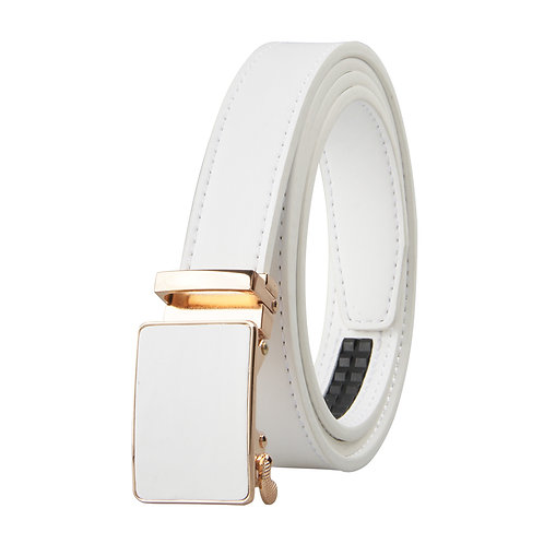 Luxury Women's Belt, Gold color Automatic Buckle.