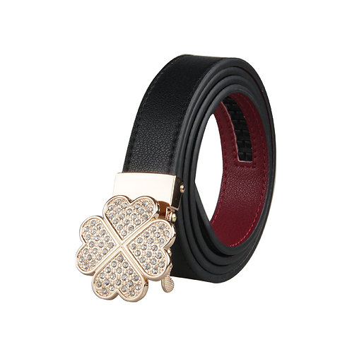 Classy Women's Belt, Gold color Automatic Buckle.