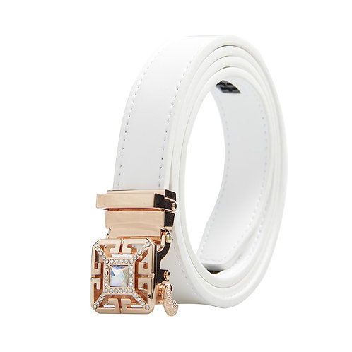 Luxury Women's Belt, Silver color Automatic Buckle.