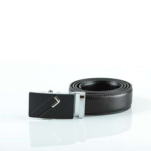 Formal Men's Belt, Silver color Automatic Buckle for Real Genuine Leather