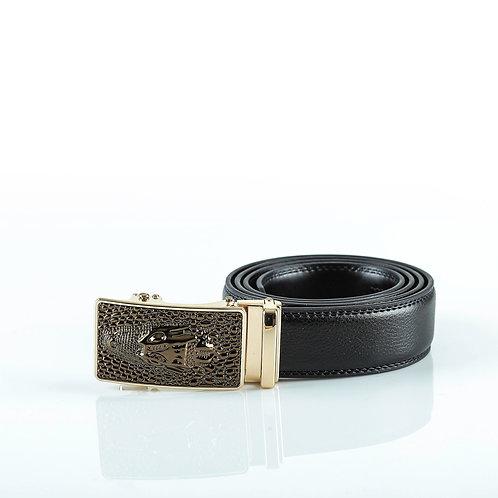 Designer Men's Belt Gold color Automatic Buckle. Real Genuine Leather!