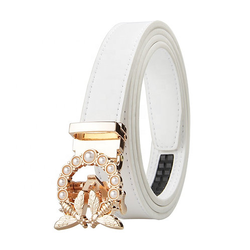 Modern Women's Belt, Gold color Automatic Buckle.