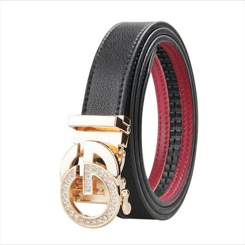Luxury Women's Belt, Gold color Automatic Buckle.