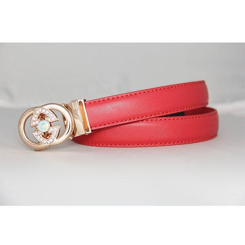 Modern Women's Belt, Gold color Automatic Buckle.