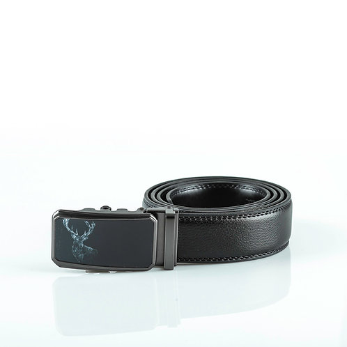 Exclusive Men's Belt, Black color Automatic Buckle, Real Genuine Leather