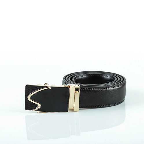 Casual Men's Belt Gold color Automatic Buckle. Real Genuine Leather!