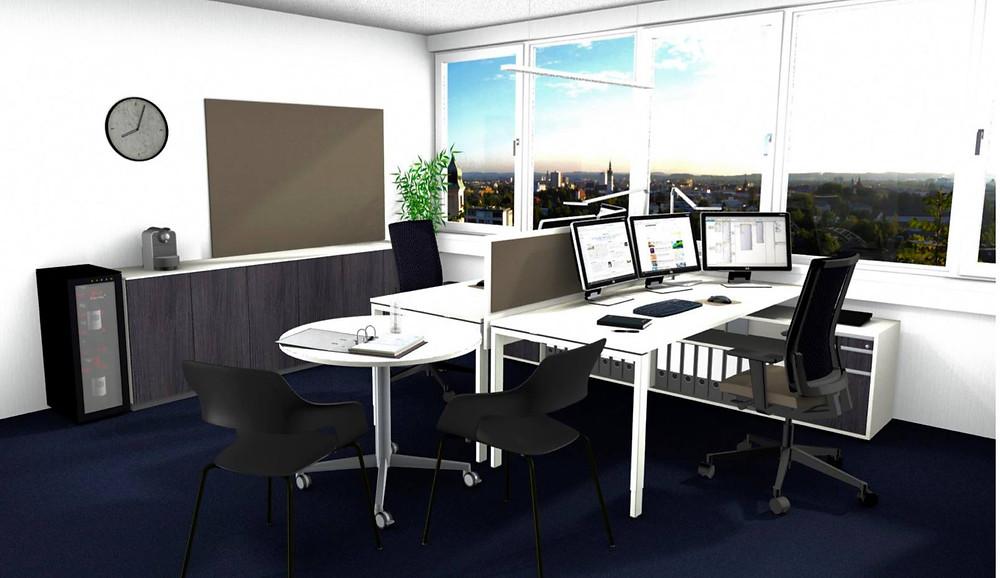 Büroräume in weis gehalten