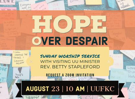 Hope Over Despair by Rev. Betty Stapleford