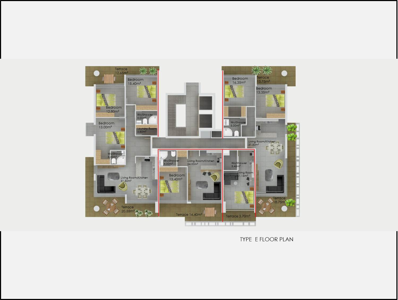 Type E Floor Plan Abelia Residence