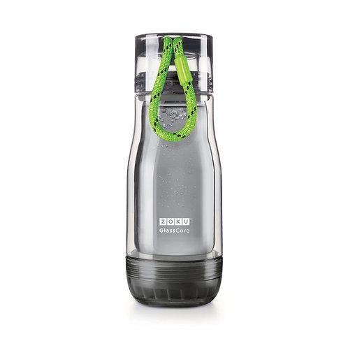 ZOKU - 透黑色玻璃膽水樽 - 綠繩 (12oz / 350ml)