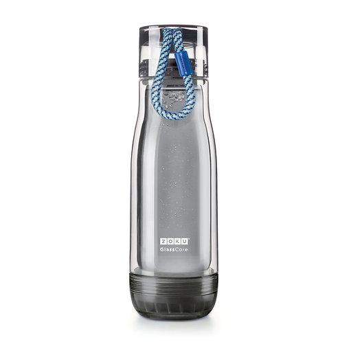 ZOKU - 透黑色玻璃膽水樽 - 藍繩 (16oz / 470ml)