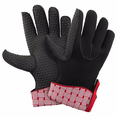 KitchenGrips 五指防滑隔熱手套 - 櫻桃紅 x 白色編織圖案