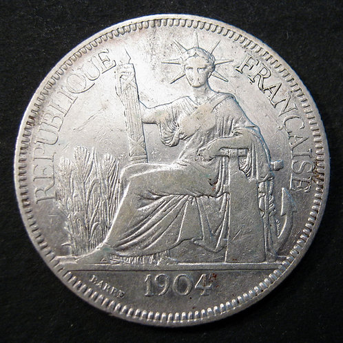 1904 Silver 1 Piastre Liberty Dollar, French Indo China INDO CHINE 坐洋
