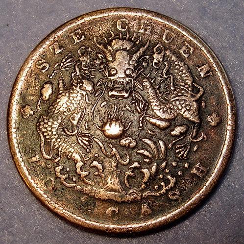 四川水龍 Water dragon, Emperor Guang Xu, Dragon Copper 10 Cash Szechuan China ANCIEN