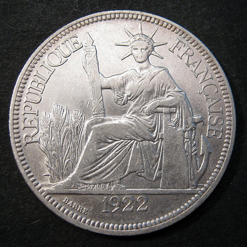 1922 Silver 1 Piastre Liberty Dollar, French Indo China INDO CHINE  1922 Silver