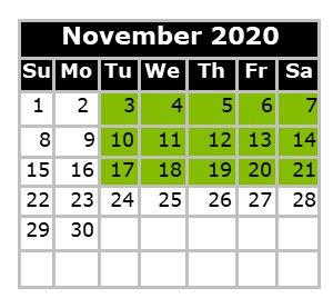 Monthly Calendar - Swim Dates November 2