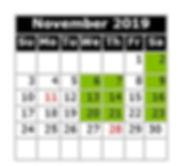Monthly Calendar - Swim Dates Nov 2019 M