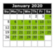 Monthly Calendar - Swim Dates Jan 2020