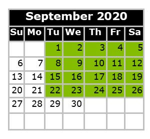 Monthly Calendar - Swim Dates September