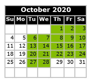 Monthly Calendar - Swim Dates October 20