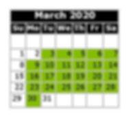 Monthly Calendar - Swim Dates March 2020
