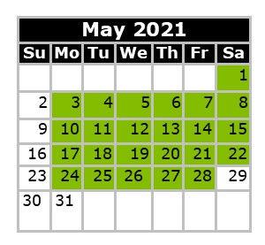 Monthly Calendar - Swim Dates May 2021 F