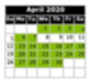 Monthly Calendar - Swim Dates April 2020