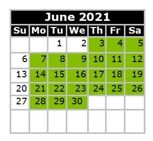 Monthly Calendar - Swim Dates June 2021