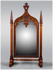 Напольное зеркало-псише в неоготическом стиле. Санкт-Петербург, фирма П. Гамбса, 1820-1830-е гг. Сосна, орех; фанерование, резьба.