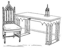 Мебель в неоготическом стиле (Петродворец, дворец «Коттедж», библиотека)