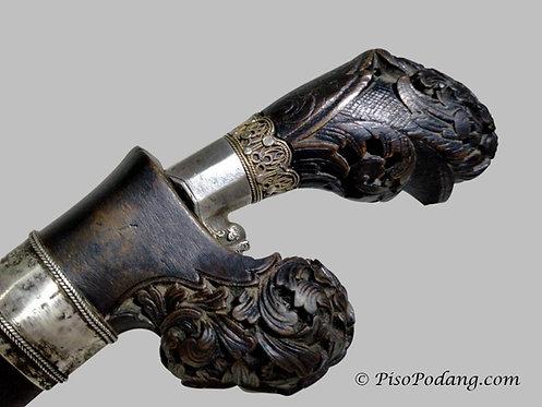 Rare Bird head Sewar Dagger with Golden Crown & Floral Crest Bolster