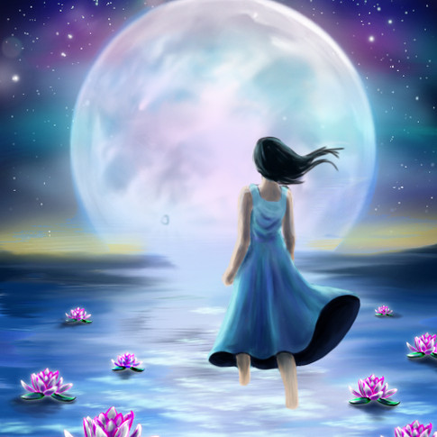Walking towards the moon