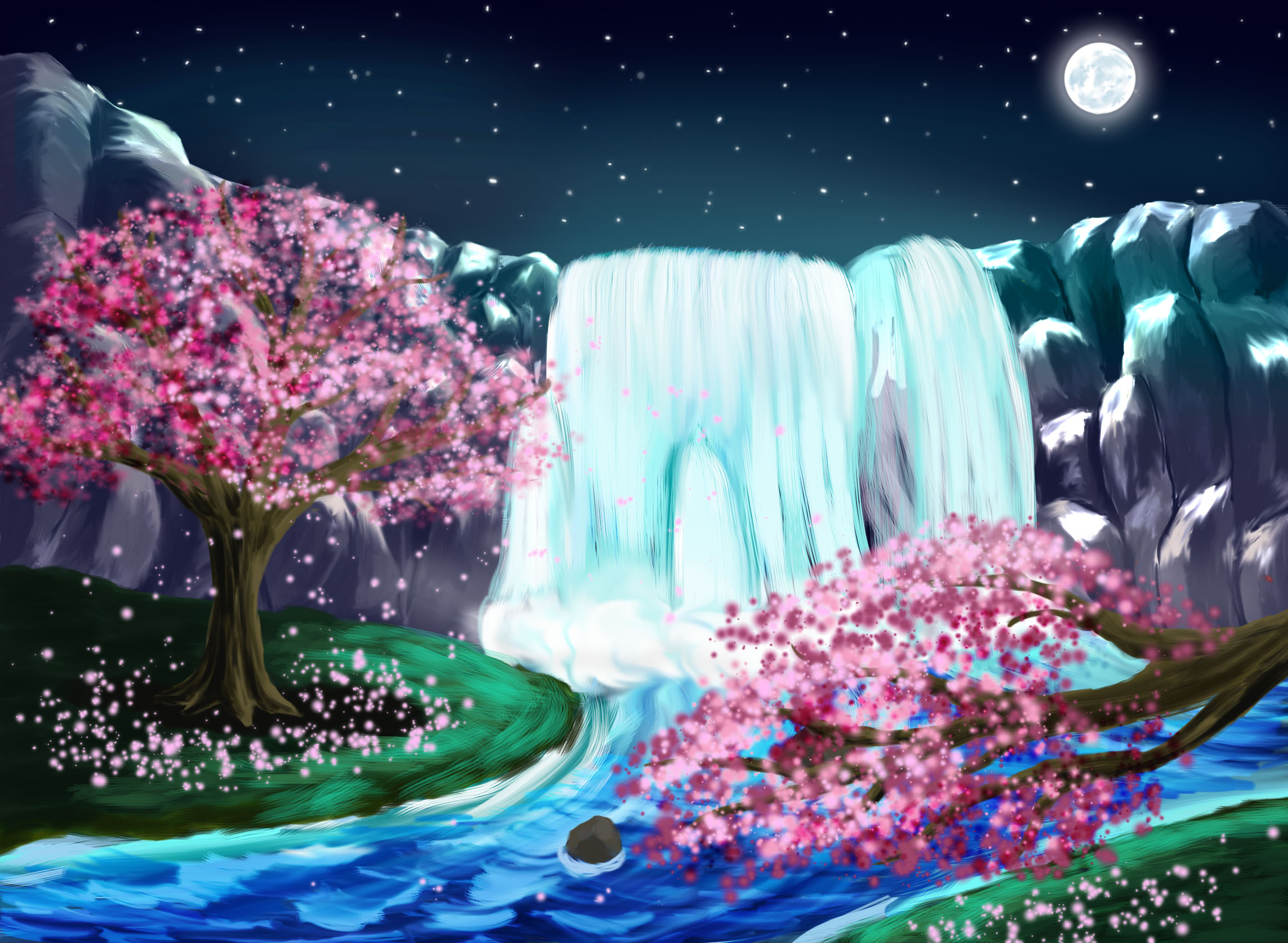 Nightime Waterfall