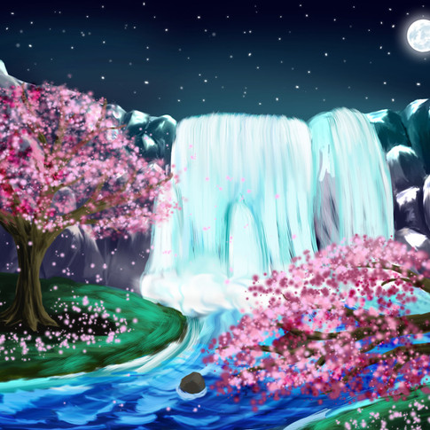 Nightime Waterfall