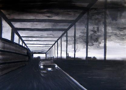 Highway, 20 x 30 cm, Wasserfarben auf Papier