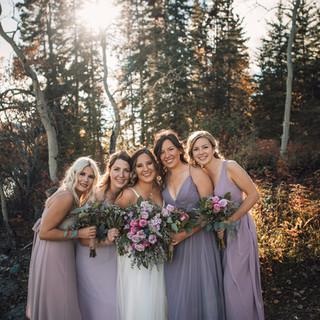 bridesmaids in purple