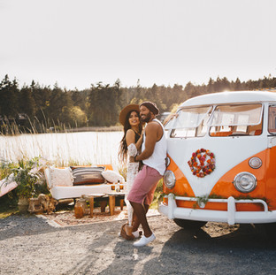 couples surf photography session, VW bug, couples session