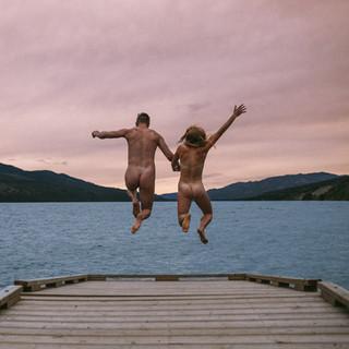 fox lake yukon, jumping into lake naked, couple session lake