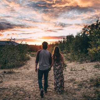 Couples walking into sunset, sunset couple
