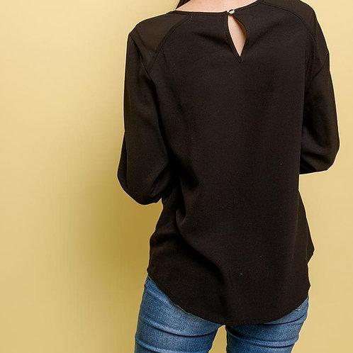 Blouse noire avec détail dentelle/Broderie