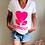 Thumbnail: T-shirt amour rose fluo