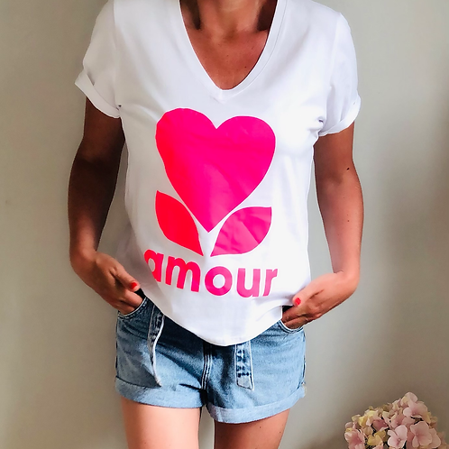 T-shirt amour rose fluo