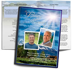 Outdoor Sun Clouds Mountains Funeral Booklet