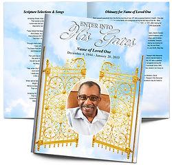 Golden Gates Heavan Funeral Obituary Booklet