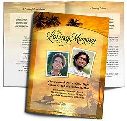 Sunset Sunrise Beach Palm Trees Funeral Obituary