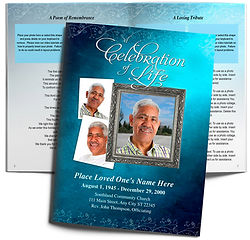 Water Colors Teal Devotion Obituary Funeral Booklet