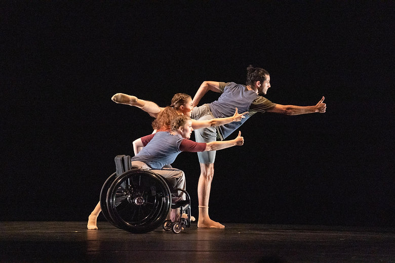 Dancing Wheels Company, from Odyssey, L-R dancers Meredith Aleigha-Wells, Celina Speck, an