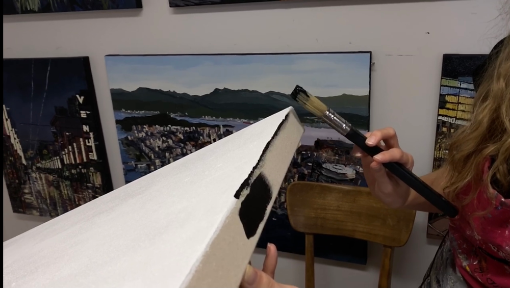 Some collectors do not like framing their work, putting a black gesso on the sides of your canvas is a good way to finish the process off professionally