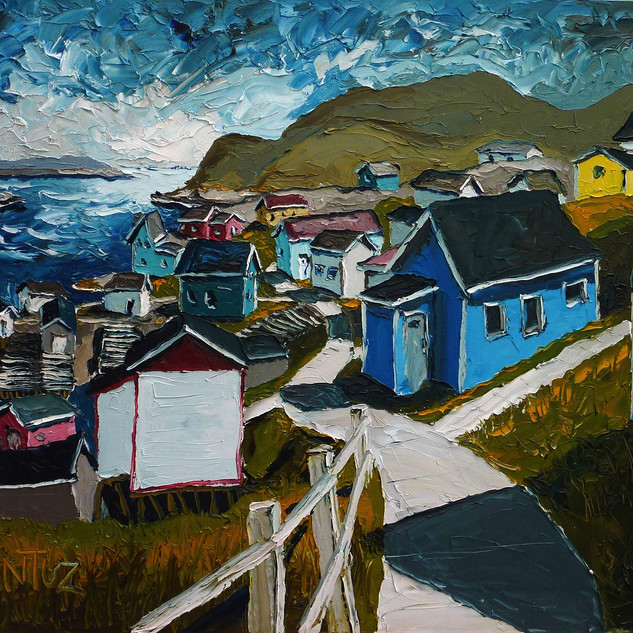 Outport Newfoundland Oil on Canvas Painting | Mike Fantuz