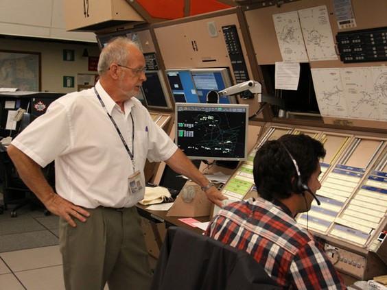 Mike Fantuz with Supervisor Don Obrien at Gander Newfoundland air traffic control centre